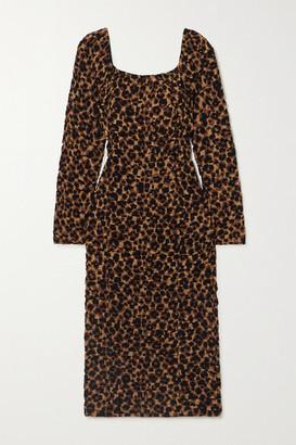 By Malene Birger Amyna Ruched Leopard-print Stretch-jersey Midi Dress - Leopard print