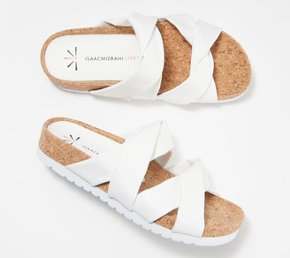 Isaac Mizrahi Live! Faux Leather or Linen Sandal