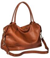 Merona Genuine Leather Duffle Weekender Handbag with Removable Strap - Cognac