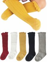 Gellwhu Cable-Knit Knee High Cotton Socks For Newborn Baby Girls Boys Toddlers 5- Pack