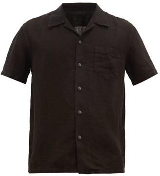 120% Lino Cuban-collar Linen Shirt - Mens - Black
