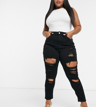Yours skinny super ripped jeans in black
