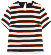 Preen Line Isabelle Striped Crepe De Chine T-shirt - Black