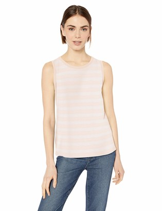 Daily Ritual Lightweight Lived-in Cotton Crewneck Muscle T-shirt Pink Stripe US L (EU L - XL)