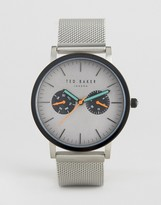 Ted Baker Brit Chronograph Mesh Watch In Silver