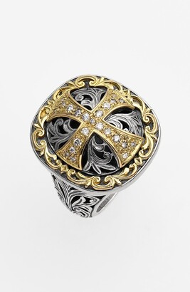 Konstantino 'Diamond Classics' Diamond Cross Two-Tone Ring