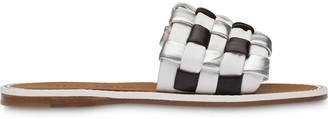 Miu Miu Woven Nappa-Leather Slides