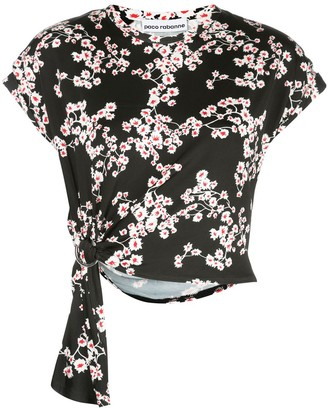 Paco Rabanne Floral Tie Cropped Top