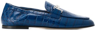 Tod's Crocodile Embossed Logo Loafers