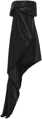 Lanvin Strapless Draped Cotton And Silk-blend Duchesse-satin Dress