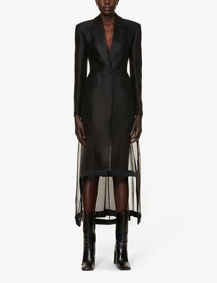 Alexander McQueen Mesh-panel wool and silk-blend coat