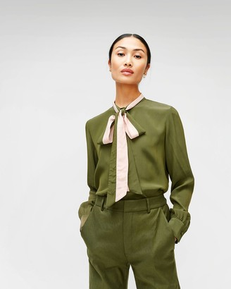 7 For All Mankind Contrast Tie-Neck Blouse in Military Green