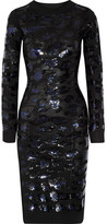 Sibling Sequin-embellished Merino Wool Dress - Black