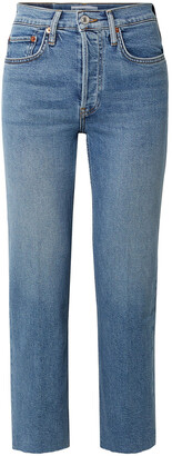RE/DONE Cropped Frayed Mid-rise Straight-leg Jeans