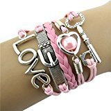 Bestpriceam Fashion Infinity Heart Pearl Love Key Leather Alloy Charm Bracelet Pink