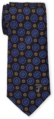 Versace Blue Silk Contrast Floral Pattern Tie