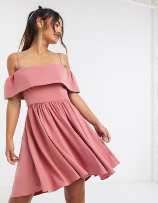 Forever New bardot mini dress in dusty rose