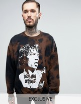Reclaimed Vintage Inspired Oversized Sweatshirt In Black With The Rolling Stones Band Bleach Print