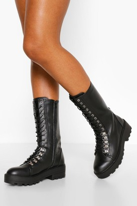 boohoo Wide Fit Calf Lace Up Hiker