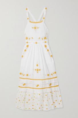 LoveShackFancy Asher Crochet-trimmed Embroidered Cotton-voile Midi Dress - White