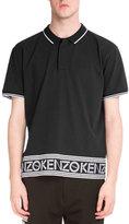 Kenzo Logo-Hem Polo Shirt w/Contrast Tipping, Black