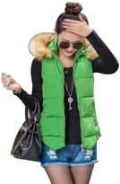 CNFIP Female Hooded Fur Collar Cotton Vest Short Paragraph,-XXL