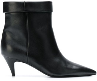 Saint Laurent Foldover Top Pointed Toe Ankle Boots
