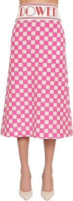 ROWEN ROSE Check Silk Crepe De Chine Midi Skirt