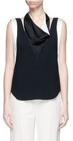 Lanvin Satin drape neck sleeveless crepe top