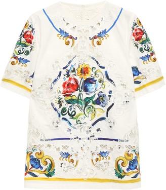 Dolce & Gabbana Lace-paneled Printed Cotton-poplin Top