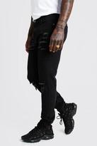 boohoo Mens Black Skinny Jeans With Busted Knee & Ankle Zips, Black