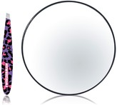 Tweezerman Leopard Print Mini Tweezer & 10x Magnifying Mirror - 2-Piece Set