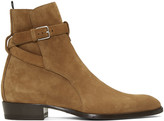 Saint Laurent Brown Suede Wyatt Jodhpur Boots