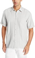 Cubavera Men's Center Pin Tuck and Stitching Short Sleeve Woven Shirt