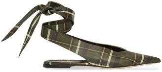 Burberry Tie Detail Tartan Pointed Mules