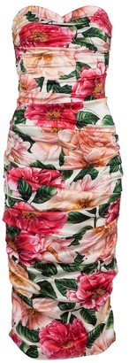 Dolce & Gabbana Floral stretch-silk satin midi dress
