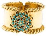 Jose & Maria Barrera Hammered Turquoise Hinge Cuff Bracelet