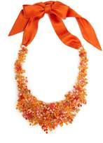 Josie Natori Beaded Bib Necklace Cayenne