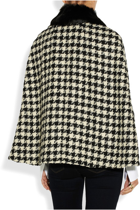 Moschino Cheap & Chic Moschino Cheap and Chic Goat hair-trimmed houndstooth wool cape