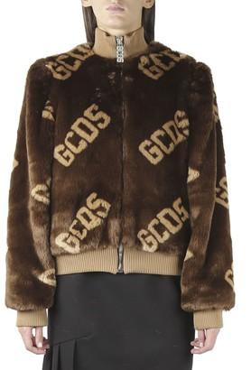 GCDS Mini Jacket In Brown Faux Fur With Logo