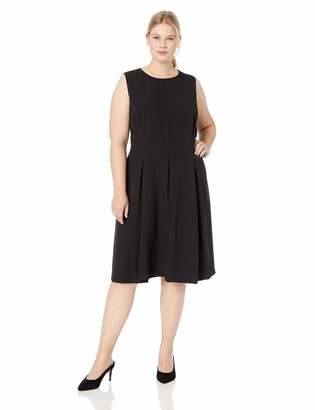 Kasper Women's Size Plus Jewel Neck Stretch Crepe Scuba Dress