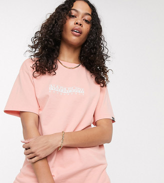 Napapijri logo t-shirt in pink Exclusive at ASOS