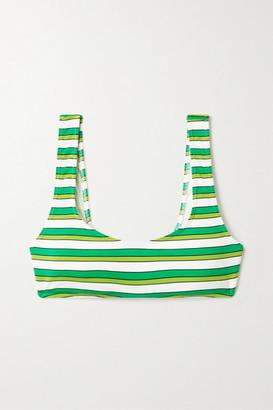 Solid & Striped The Elle Striped Bikini Top - Green