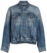 R 13 Oversized Denim Cinched Waist Jacket