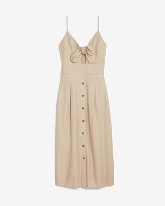 Express Linen-Blend Button Front Tie Midi Dress