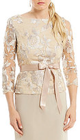 Adrianna Papell 3/4 Sleeve Embroidered Lace Top