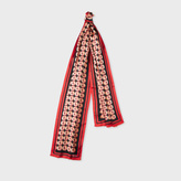 Paul Smith Men's Orange Silk 'Peach Stone' Print Scarf