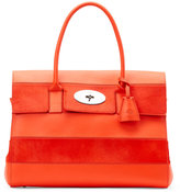 Mulberry Red Orange Bayswater Leather & Calf Hair Striped Top Handle Bag