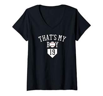 Womens That's My Boy Baseball Number 19 Jersey Baseball Mom Dad V-Neck T-Shirt