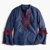J.Crew Embroidered bell-sleeve top in foulard